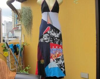 recycled t-shirt long dress shoestring/spaghetti strap ,alternative,hippy,bohemian,festival patchwork
