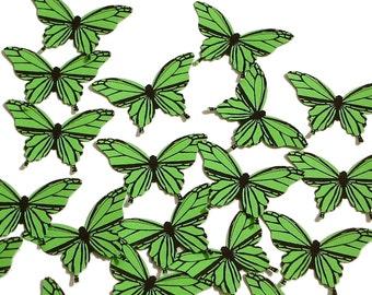 20 Green Butterfly scrapbook embellishments - No601