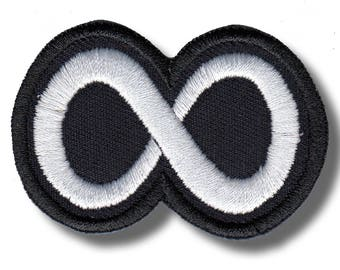Eternity symbol variation 2 - embroidered patch, 6 X 4 cm