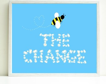 Be The Change Printable Inspirational Typography Poster, Digital Art Print, Instant Download, Bee Quote Poster