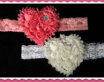 Valentine Day Headband, Heart Headband, Toddler headband, baby headband, infant headband, adult headband, photo prop, coulture,heart set
