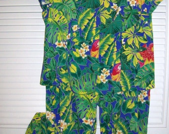 Pantsuit 12, Vintage  by Clere Two Piece  Women's Jungle Floral Easy Travel Resort Vacation Lovely  Size 12