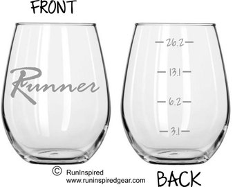 Etched Runner Running Glass 3.1, 6.2, 13.1, 26.2 Levels FREE Personalization