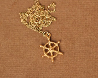 Ship wheel necklace - captains wheel - nautical necklace - beach - a 22k golf vermeil ships wheel on a 14k gold vermeil chain