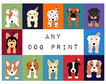 Nursery Art dog print for baby, artwork child. ANY DOG print from the WallFry selection. For kids room decor from painting