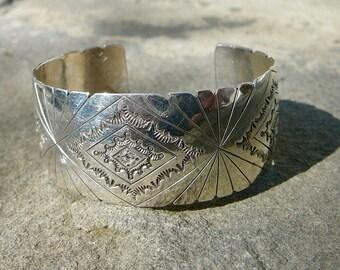 SAVE 50 DOLLARS:Native American Silver,Vintage Navajo Bracelet,Sterling Silver Stamped Cuff,HandmadeSigned Navajo Jewelry,Vintage Navajo