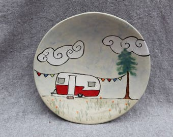 Stoneware Bowl Plate with Shasta Camp Trailer Under the Clouds