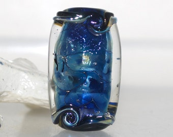 Blue Lustre with Black Wiggle Lampwork Glass Focal Bead