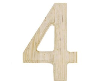 "6"" Blank Unfinished Wooden Number 4 (Four)"
