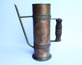 Wrought Copper & Brass Riveted Rustic Kettle Teapot Primitive Turkish Coffee Pot