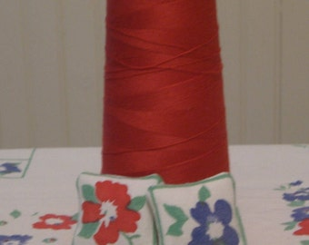 """1"""" Scale Dollhouse Pillow From Vintage Tablecloth Fabric"""