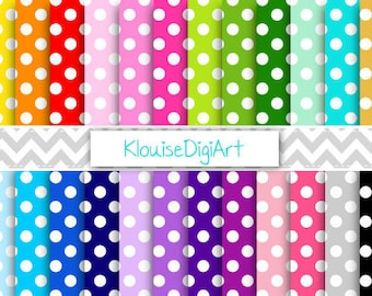 Rainbow and Pastel Polka Dot Spots Digital Printable Papers for Personal and Commercial Use (0018)