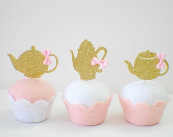 Tea party cupcake topper, tea party decoration, teapot cupcake topper, cupcaketopper, teaparty (12 toppers)