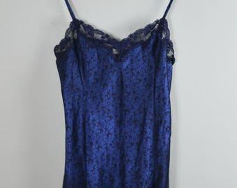 Victoria's Secret Slip Dress Floral & Lace Navy Blue