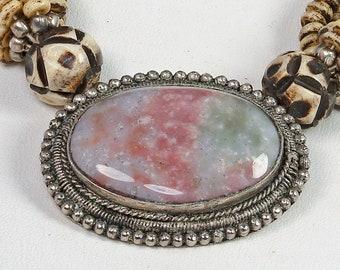 Beautiful Vintage Costume Jewelry Agate Pendant Multi-Strand Choker Necklace