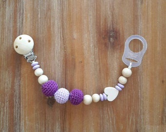 Pacifier Purple wood and crochet