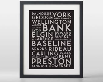 Ottawa City Streets Typography Art Print