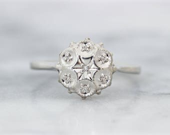 Vintage Diamond Cluster Ring | Dainty White Gold Ring | Diamond Starburst Ring | 1960s Cocktail Ring | Vintage Engagement Ring | Size 8.75