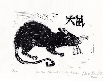 Da shu- The Rat- The Big Mouse - Linocut, 1st in Chinese Zodiac - Black and White Lino Block Print Rat, Big Mouse, Chinese Character