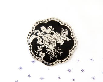 large screen printed pink butterfly flower pendant black silver