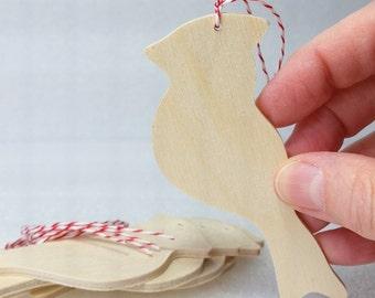 Cardinal Ornaments, set of 5, Unfinished,  DIY kit,  gift / momento / holiday decoration