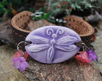 Dragonfly Bracelet Leather Band, Jewelry, Purple Bracelet, Pink Jewelry, Mom