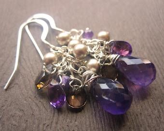 Amethyst, Smoky Quartz and Pearl Earrings