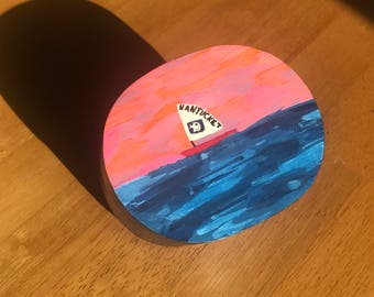 Nantucket, Keepsake, Sailing, Sunset, wooden, hand painted, one-of-a-kind, dresser, box, New England, Cape and Islands, cape