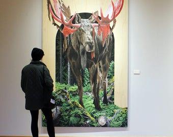 Velvet - original framed acrylic painting of a moose 5' x 8'