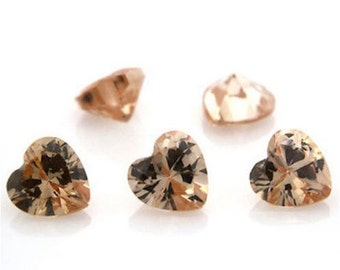Cubic Zirconia Champagne Heart AAA Wholesale Lot Loose Stones (3x3mm - 15x15mm)