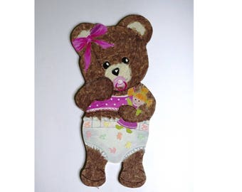 "Amandine bear ""Baby"" wood and paper"