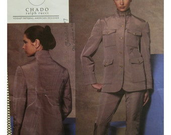Chado Jacket Pattern,  Lined, Stitching, Stand-up Collar, Pockets, Flaps, Tapered Pants, Vogue American Designer  1144 UNCUT Size 6 8 10 12