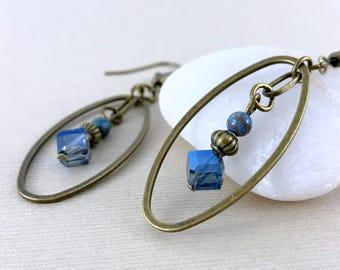 Long blue crystal brass earrings, Gemstone earrings, Boho chic earrings, Metal earrings, Blue earrings, Brass earrings, Dangle earrings