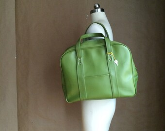 SALE / 60's mod green vinyl luggage / carry on / tote / overnight bag / travel bag / lock and key