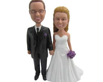 Custom wedding cake topper   Custom Handmade Bride and Groom Cake Topper Wedding cake topper figure