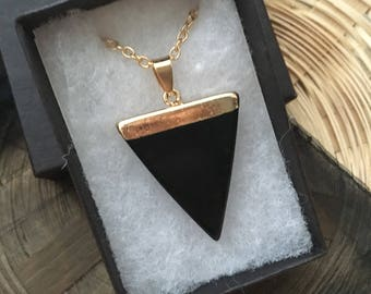 Black Agate and Gold Healing Gemstone  Necklace Triangle Pendant