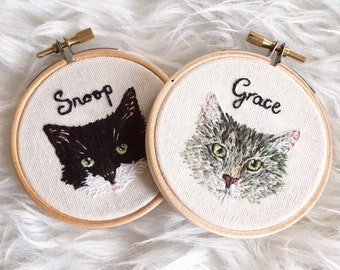 Miniature Pet Portrait Hand Embroidered Hoop Art (Made to Order) Custom Embroidery