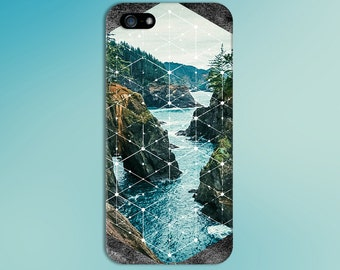 Stone Mountain River White Geometric Phone Case,  iPhone X, iPhone 8 Plus, Tough iPhone Case, Galaxy s9, Samsung Galaxy Case, CASE ESCAPE