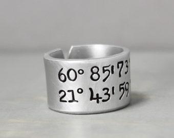 Coordinate Ring, Latitude Longitude Ring, Custom CoordinatesLongitude Latitude, Personalized Ring,Personalized Jewelry