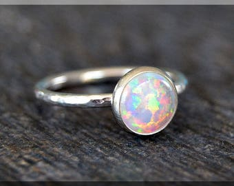 Opal Sterling Silver Stacking Ring, Choose Your Birthstone, Dainty Sterling Ring, Birthstone Mothers Ring, Simple Gemstone Stacking Ring