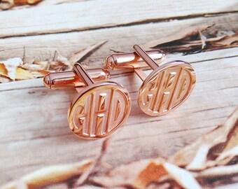 Rose Gold Mens CuffLinks,Groom Wedding Gift,Engraved Monogram CuffLinks,Gift for Fathers Day,Elegant Monogrammed Cufflinks