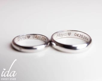His and Her Promise Rings For Couples,Wedding Band Set White Gold - Wedding Bands His and Hers - Engraved Wedding Ring - Wedding Bands