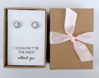 """Bridal Bridesmaids Gift- Silver """"Tie The Knot"""" Stud Earrings"""