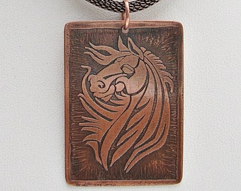 Horse Pendant Necklace Horse Jewelry Handmade Etched Copper Jewelry Equestrian Jewelry