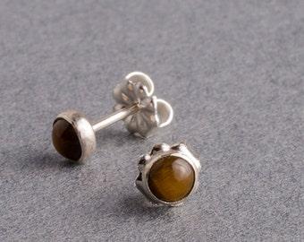Tigerseye Silver Dot Stud Earrings