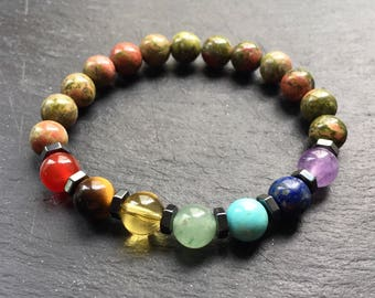 Unakite Jasper Bracelet with 7 Chakra Healing Balancing Gemstone Beads Stretchy Fit Made In UK Positive Vibes