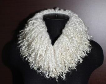 Handmade Felted Scarf Collar Undyed Raw Wool Silk Scarf OOAK Off White Ahimsa No Kill Fur Felt Scarf