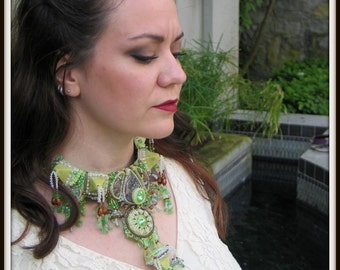 HOLD FOR TERRY - Clearance Bead Embroidery Necklace - Lilith Beaded Collar by Hannah Rosner
