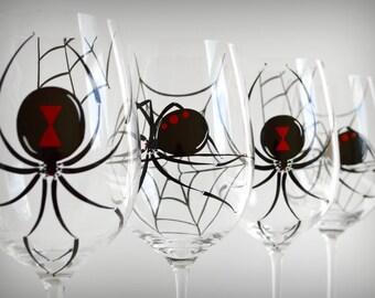 Black Widow Spider Glasses - Set of 4 Hand Painted Halloween Wine Glasses