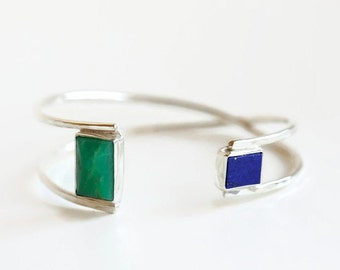 Sterling silver bracelet cuff with lapis lazuli and chrysoprase rectangular stones, asymmetrical cuff